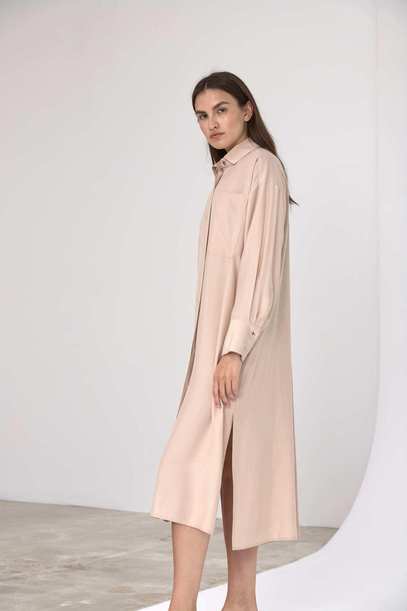 Платье-рубашка под пояс, сливочный беж