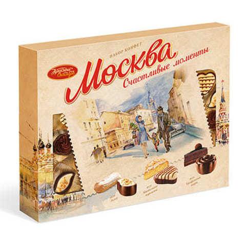 Конфеты в коробке Москва Счастливые моменты, Красный Октябрь, 177 гр.