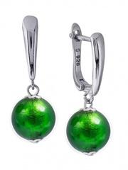 Серьги Carnavale зеленые на серебряных швензах цвет 030А