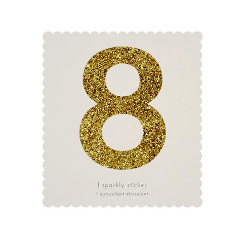 Стикер 8, мерцающее золото
