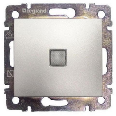 Выключатель одноклавишный проходной с подсветкой. Переключатель на два направления с подсветкой - 10 AX - 250 В~. Цвет Алюминий. Legrand Valena Classic (Легранд Валена Классик). 770126