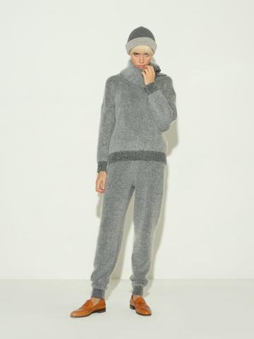 Женские брюки серого цвета из мохера и кашемира - фото 2