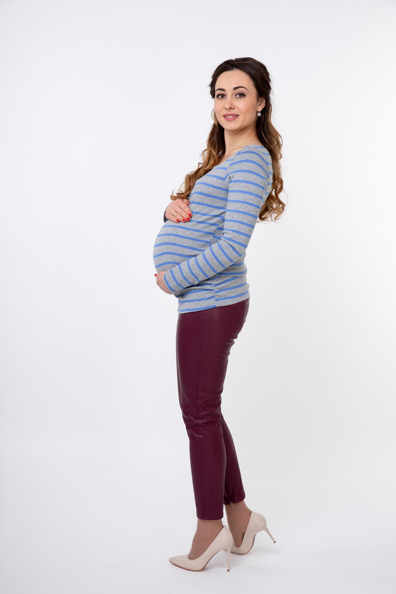 Лонгслив для беременных и кормящих 09778 серый