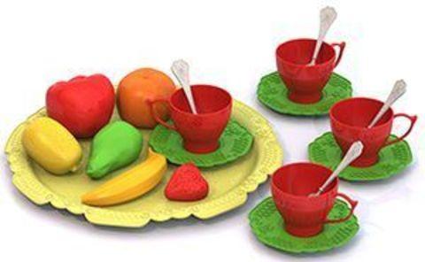Набор фруктов и чайной посуды 18пр на подносе Волшебная хозяюшка/623
