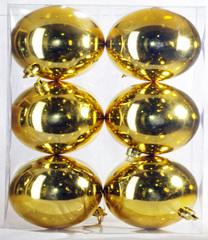 Декор набор шаров 6 штук диаметр 8 см, золото