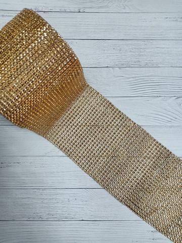 Стразы на тканевой основе, тёмное золото, размер  11.5 см*100см