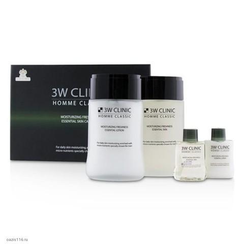 Набор для комплексного ухода за мужской кожей 3W Clinic с эффектом увлажнения и свежести