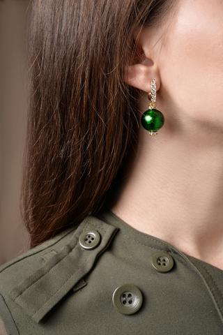 Серьги из муранского стекла со стразами Franchesca Emerald цвет 030O