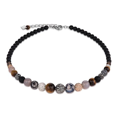 Колье Coeur de Lion 4888/10-1523 цвет чёрный, коричневый, серый, серебряный
