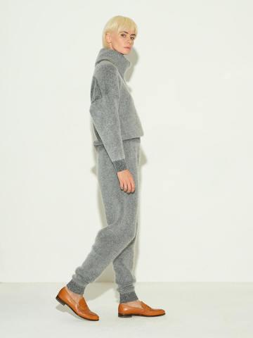 Женские брюки серого цвета из мохера и кашемира - фото 4