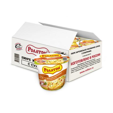 Картофельное пюре Роллтон с сухариками 40 г (24 штуки в упаковке)