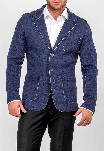 Кардиган мужской G136-KF-гранж (джинс/белый)