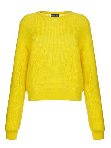 Женский джемпер желтого цвета из мохера и шерсти - фото 1