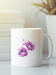 Кружка с изображением Цветы (Маки) белая 004