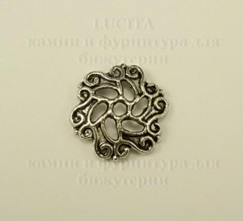 """Шапочка для бусины """"Филигрань"""" (цвет - античное серебро) 13х1мм, 10 штук ()"""