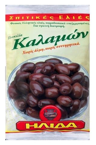 Оливки Каламон с косточкой в фольге Ilida 250 гр