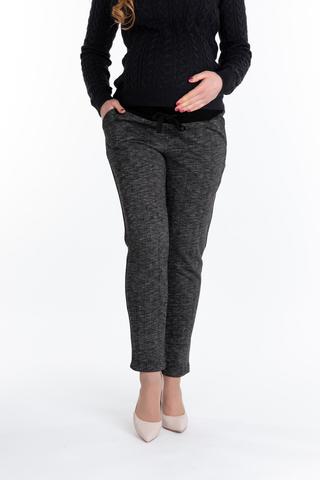 Утепленные спортивные брюки для беременных 10078 черный меланж