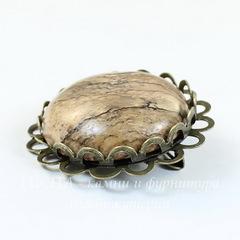 Основа для броши с ажурным краем и сеттингом для кабошона 25 мм, 32 мм (цвет - античная бронза)