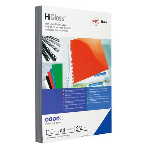 Обложки для переплета картонные GBC А4 250 г/кв.м синие глянцевые (100 штук в упаковке)