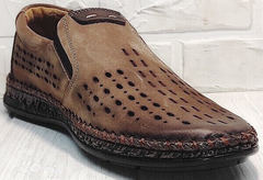 Модные туфли мокасины мужские casual стиль летние Luciano Bellini 91737-S-307 Coffee.