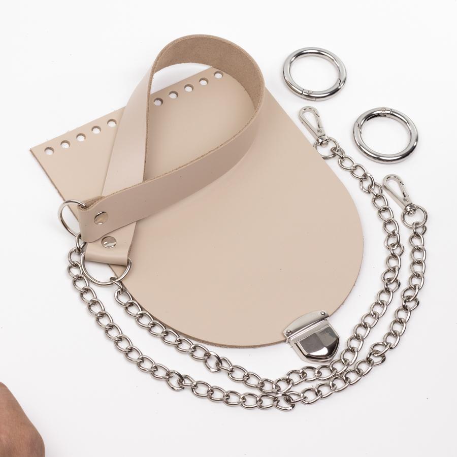 """Комплект для сумочки """"Орео"""" с бесплатным видео уроком Комплект для сумочки Орео """"Кремовый"""" Ручка с цепочкой и замок """"200 мини"""" IMG_0869.jpg"""
