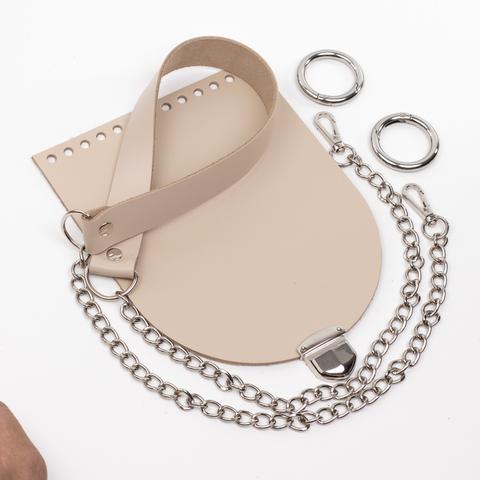 """Комплект для сумочки Орео """"Кремовый"""" Ручка с цепочкой и замок """"200 мини"""""""