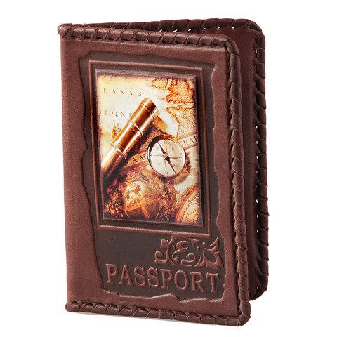Обложка на паспорт | Вокруг света | Коричневый