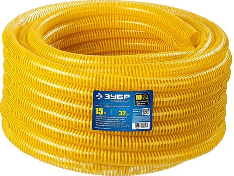 ЗУБР Шланг напорно-всасывающий со спиралью ПВХ, 10 атм, 32мм х 15м