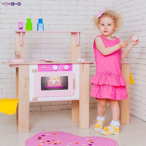 """Деревянная кухня-трансформер для девочек """"Ванильный смузи"""" с 16 аксессуарами"""