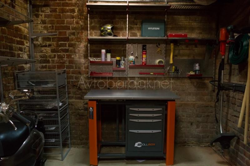 Набор №37 Металлический верстак, полки, ящик, рейлинги и перфопанели для инструментов