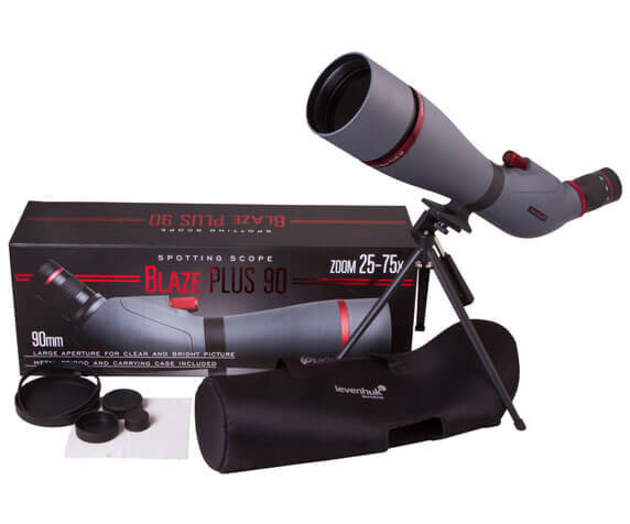 Комплект поставки подзорной трубы Levenhuk Blaze PLUS: футляр, крышки, штатив, труба