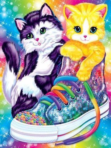 Алмазная Мозаика 30x40 Цветные котята и ботинок