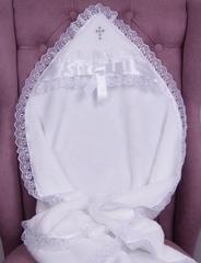 Комплект на крещение: Крыжма Бантик + велюровый человечек (розовый)
