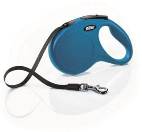 Flexi поводок-рулетка New Classic M (до 25 кг) 5 м лента (синяя)