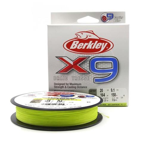 Плетеная леска Berkley X9 150 м. Ярко-зеленая 0,17 мм. 9,1 кг.
