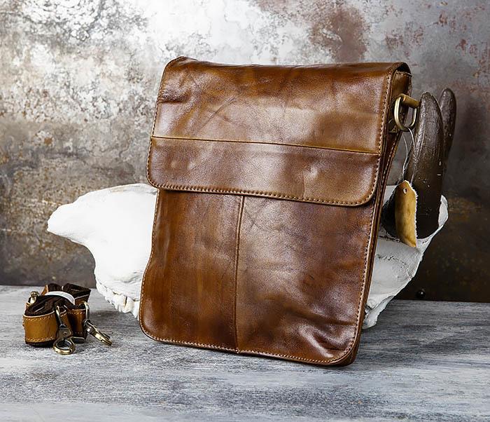 BAG441-2 Мужская сумка из гладкой кожи с ремнем на плечо фото 02
