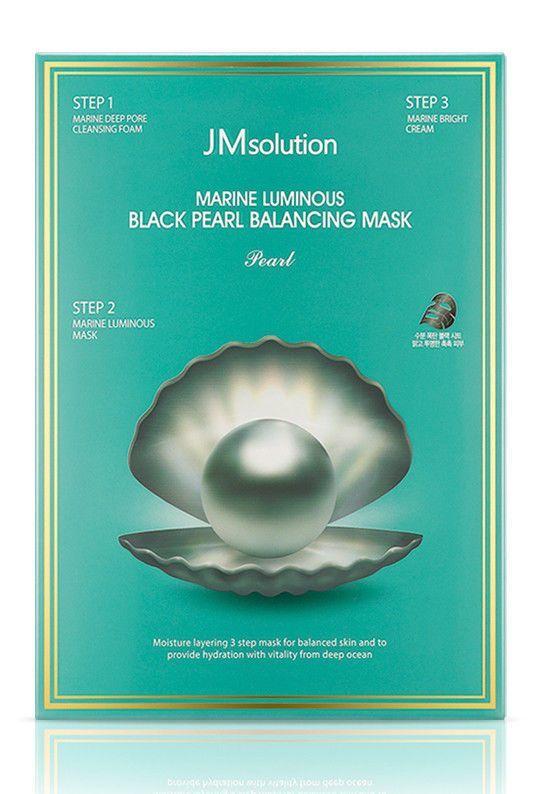 Трёхшаговый набор для сияния кожи JMsolution Marine Luminous Black Pearl Balancing Mask с жемчугом