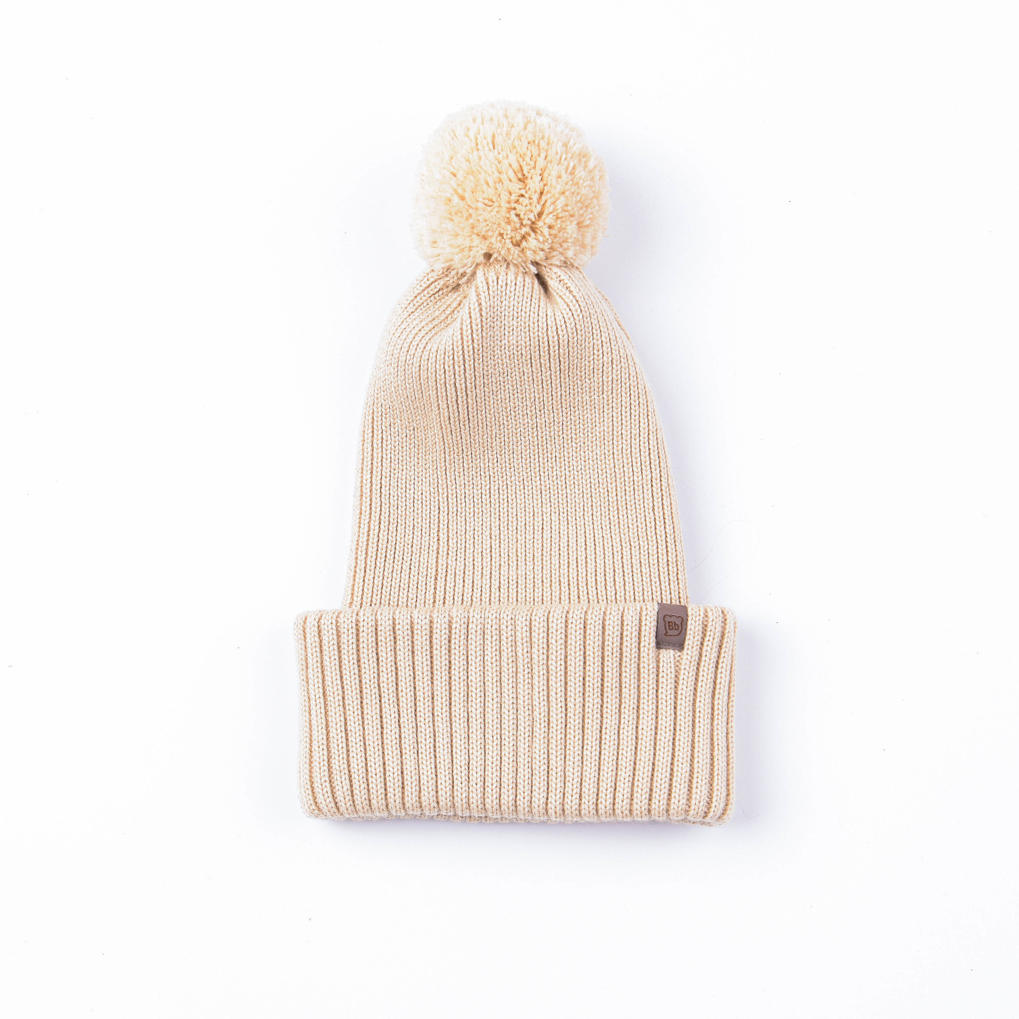 Double turn-up hat with pompon - Vanilla