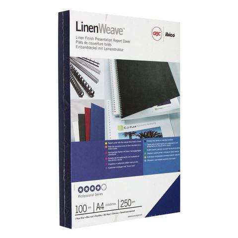 Обложки для переплета картонные GBC А4 250 г/кв.м синие текстура лен (100 штук в упаковке)
