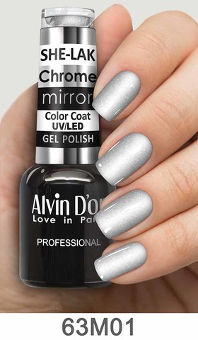 Alvin D`or Лак для ногтей SHE-LAK Chrome mirror  тон 6301 -8мл