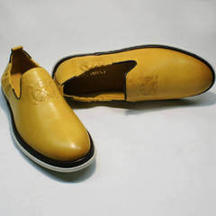 Мужские кожаные туфли желтого цвета King West 053-1022 Yellow-White.