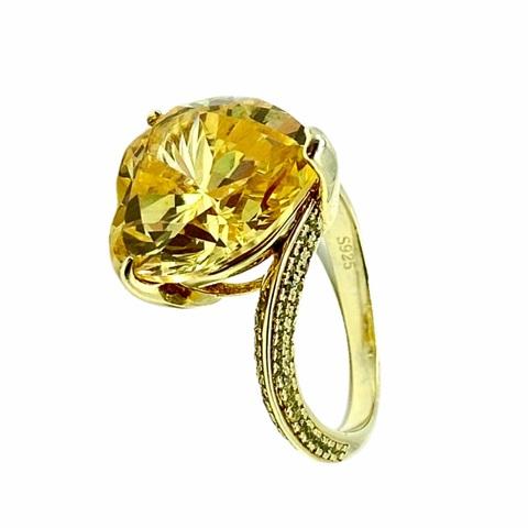 Кольцо из серебра в лимонной позолоте Heart с желтыми цирконом