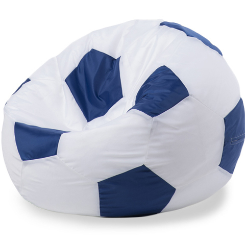 Бескаркасное кресло «Мяч» L, Белый и синий