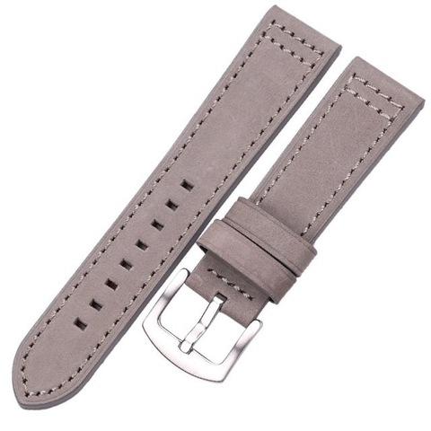 Кожаный ремешок 22мм Hengrc для Samsung Gear S3/Galaxy Watch 46 (серый)