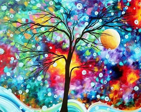 Алмазная Мозаика 30x40 Дерево и круги