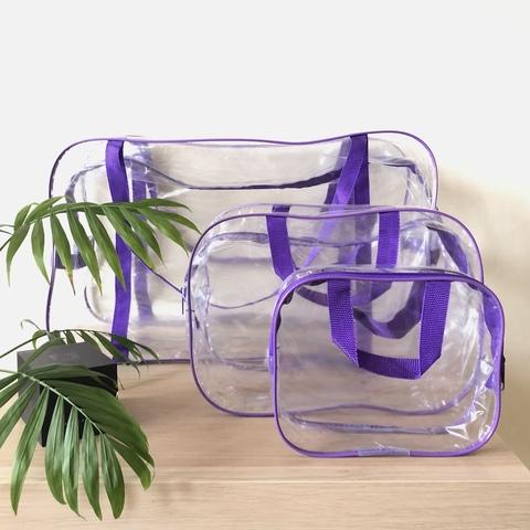 Прозрачная сумка в роддом с 1 или 2 косметичками, фиолетовая