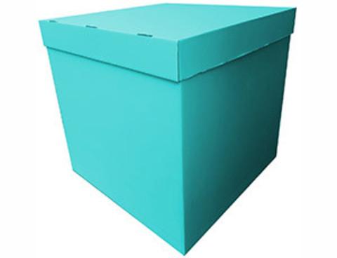 Коробка для воздушных шаров с персональным оформлением бирюзовая