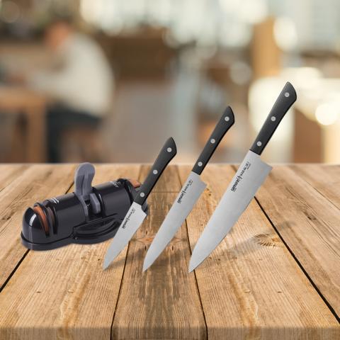 Набор из 3-х ножей Samura Harakiri и точилки KSS-3000