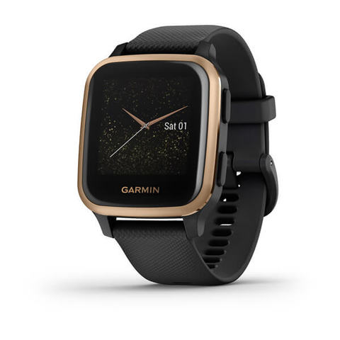 Garmin Venu Sq Music Edition - Rose Gold Aluminum Bezel with Black Case and Silicone Band