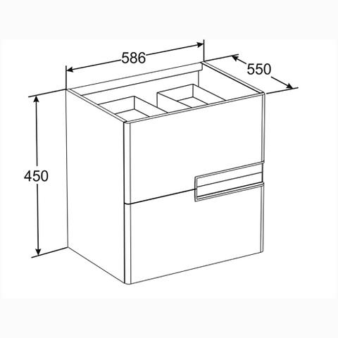 Мебель для ванной Roca Victoria Nord Black Edition 60х45см. ZRU9000096/327821000 схема